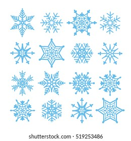 Vector snowflakes set for Christmas design on white background
