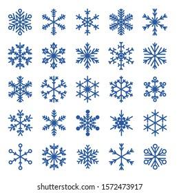 Vector snowflakes set. Snow flake icons isolated. 2019 season.