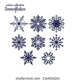 Vector snowflakes silhouette set  on white background