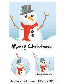 Vector snowman greeting card and tags