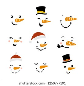 Vector snowman illustration set. Funny cartoon faces with different emotions and hats. Snowman emoticons. Winter hand drawn design elements.