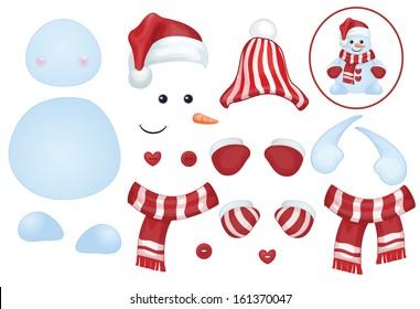 Vector snowman template, make own snowman.