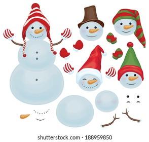 Vector snowman template, make own snowman,  snowman can change faces.