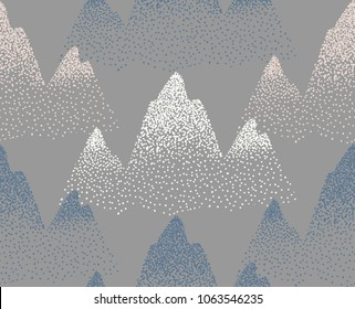 vector snowy peaks seamless pattern, gray mountain background