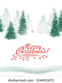 Vector snowy winter landscape with fir forests, deer and holiday wishes