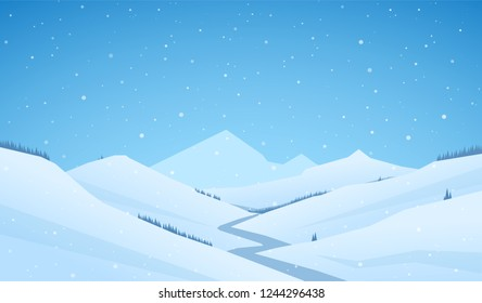Vector snowy winter mountains landscape with hills and river or road