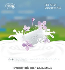 Vector Soap with milk splash. Natural handmade Soap advertisement design or banner background.