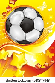 Vector Soccer background with a place for your text. Creative Design abstract football poster. Beautiful illustration with Soccer ball