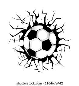 Vector soccer ball breaking glass into pieces. Vector.