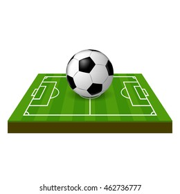 vector soccer field with grass and earth side view and ball