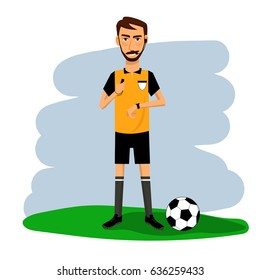 Vector of soccer, football referee on color background. Cartoon character