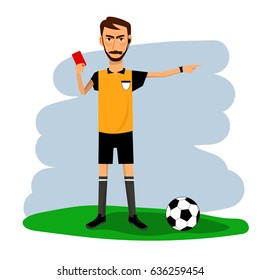 Vector of soccer, football referee with red card. Cartoon character