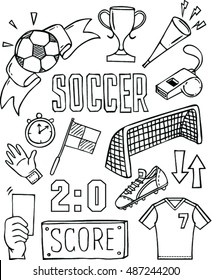 vector  soccer icon set on white