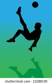 Vector of a soccer player making a overhead kick