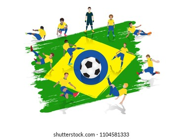 Vector soccer player team with Brazil Flag background