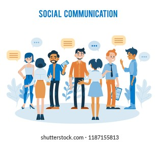 Vector social communication concept with young men, women colleagues, friends or students talking to each other gesticulating with empty speech bubble above head holding clipboards, smartphones
