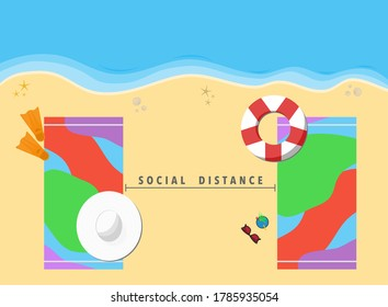 Vector of Social distance on the beach, 2 beach towels keep distance for Sunbathe or tanning on the sand. New Normal summer beach after lockdown due to coronavirus