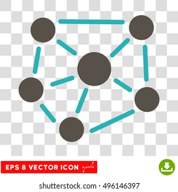 Vector Social Graph EPS vector pictogram. Illustration style is flat iconic bicolor grey and cyan symbol on a transparent background.