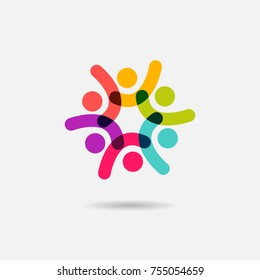 Vector social logo icon of people together - sign of unity, teamwork. Logotype for sport event or team winning