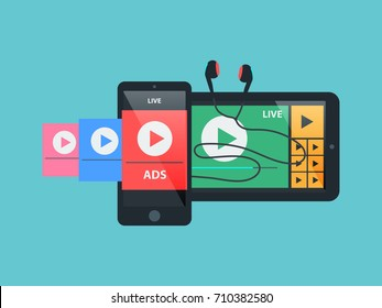 Vector social media music video online player, technology live interface concept