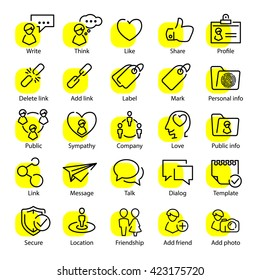 Vector social media and people communication thin line icons set for UX UI kit