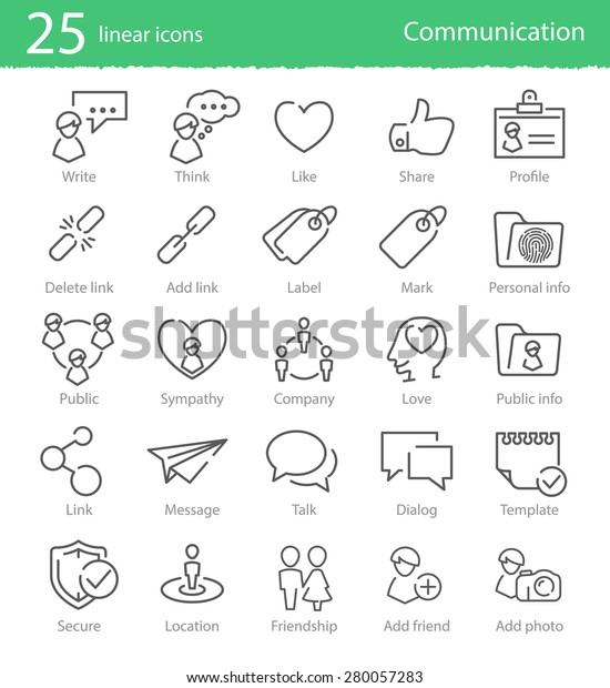 Vector social media and people communication thin line icons set
