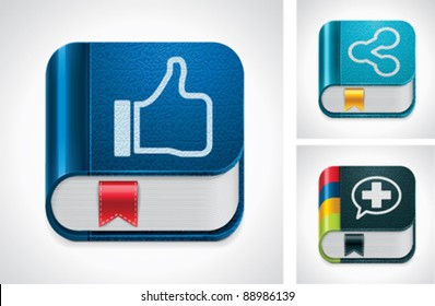 Vector social media sharing icon set. Blue book with thumbs up hand palm, black book with plus symbol