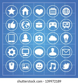 Vector social media and technology signs and symbols on blue background