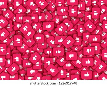 Vector social network background with like thumbs up icons pattern for live stream video chat. Web buttons for internet marketing campaign template, posters