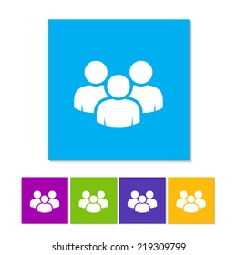 Vector social network button. Users icon design element. Global Business people icon vector. Person icon silhouette. Colorful. Audience. Contacts. Friends. Staff. Team icon. Meeting. Profile