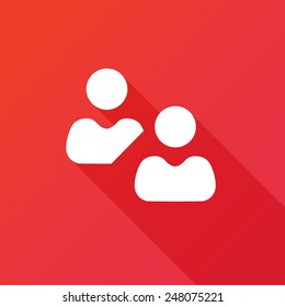 Vector social network button. Users icon design element. Long shadow effect. Flat style design