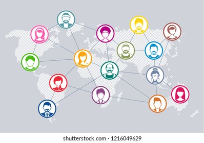 Vector social network communication diagram world map concept