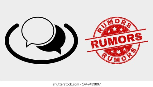 Vector social network messages pictogram and Rumors seal. Red rounded grunge seal with Rumors text. Vector combination for social network messages in flat style.