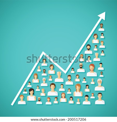 Vector social network population and demography growh concept with flat human icons.