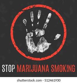 Vector. Social problems of humanity. Stop marijuana smoking.