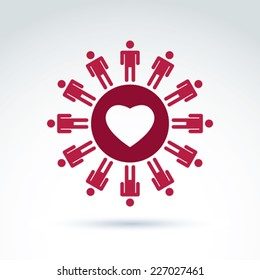 Vector society donation symbol, compassion and love sign. People standing around the loving heart. Save life social icon.