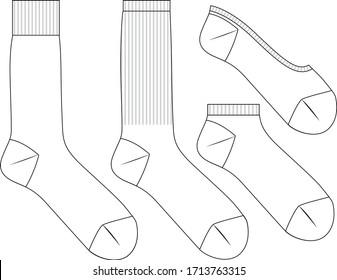 Vector sock set, flat sketch,