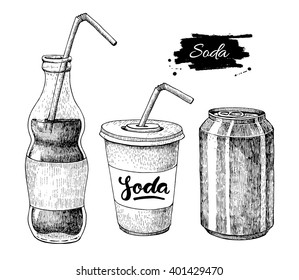 Vector soda drawing. Hand drawn soda illustrations. Vintage drink sketch. Great for restaurant or cafe drink menu.