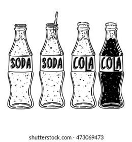 Vector soda drawing. Hand drawn soda illustrations. Vintage summer drink sketch. Great for restaurant or cafe drink menu. soda or a cocktail in a bottle with a straw. the inscription can be replaced