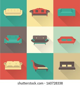Vector sofa icons set