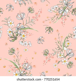 Vector soft blooming floral pattern, delicate flowers, yellow, blue and pink flowers, greeting card template on sweet pink background.