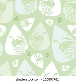 Vector soft green, blue and white Garden Tea Party seamless teapot pattern background. Perfect for fabric, scrap-booking, gift-wrap, wall paper projects, stationary, quilting