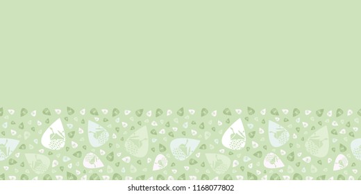 Vector soft green Garden Tea Party seamless pattern border. Perfect for fabric, scrapbooking, giftwrap, flyers, invitations,  stationary, quilting projects
