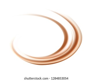 Vector soft wonderful mixed dark beige curvy swirling backdrop. Beautiful delicious volute fluid choco creamy surface with space for text in white center