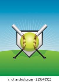 A vector softball illustration. Vector EPS 10. EPS file contains transparencies and gradient mesh. Room for copy.