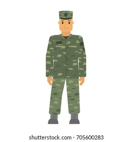 Vector soldier man in free posture isolated on white background