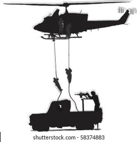 Vector Soldiers jump from a helicopter, and as a soldier shooting from military vehicles on the move.