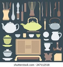 vector solid colors tea ceremony tools and equipment set