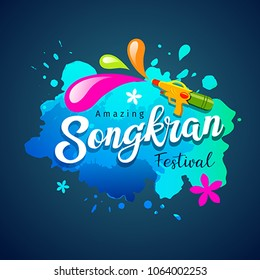 Vector Songkran festival of thailand holiday water splash on blue background, illustration