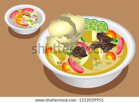 Vector Soto Betawi Beef Soup Coconut Stock Vector Royalty Free